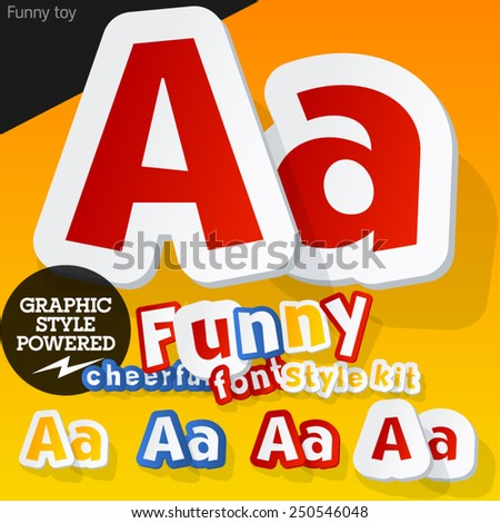 Vector font in shape of funny toys or cartoon elements. Letter A - stock vector