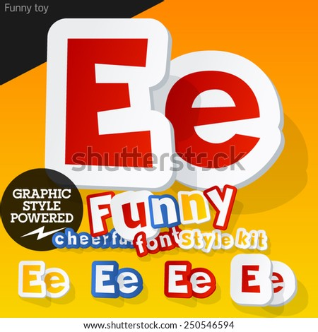 Vector font in shape of funny toys or cartoon elements. Letter E - stock vector