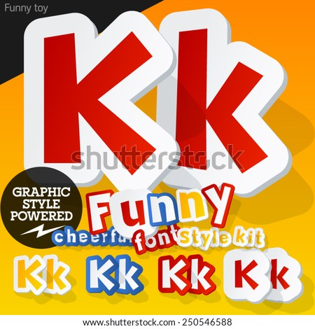 Vector font in shape of funny toys or cartoon elements. Letter K - stock vector