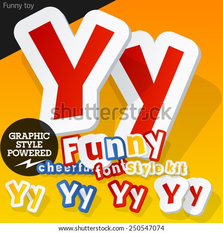 Vector font in shape of funny toys or cartoon elements. Letter Y - stock vector