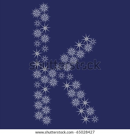 Vector font made of snowflakes