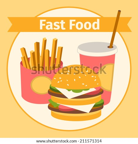 vector food and drink. Burger, fries. Flat. vector illustration
