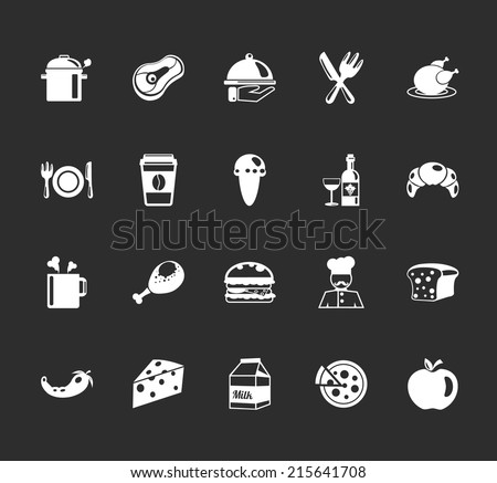 Vector food and elements restaurant pictograph white icons set