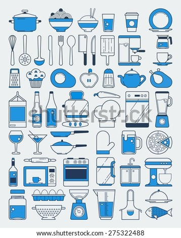 Vector food and kItchen elements. line illustration - stock vector