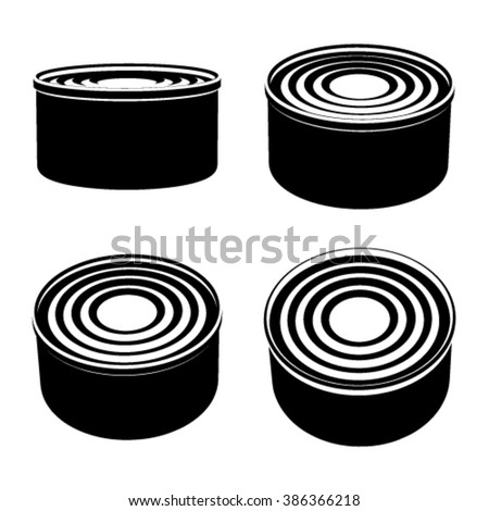 vector food cans black symbol - stock vector