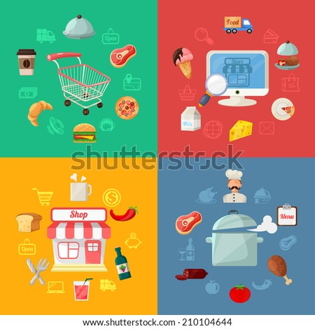 Vector Food Delivery Flat Icon Illustration - stock vector