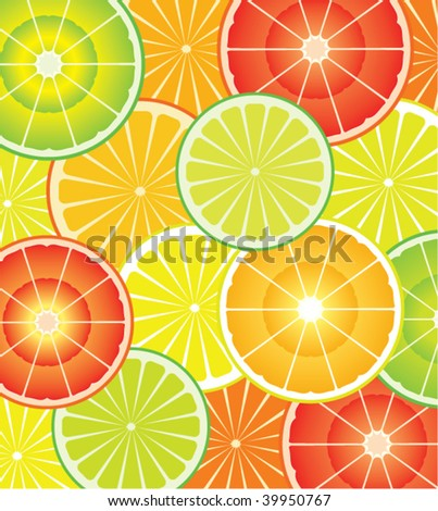 vector food diet background of colorful citrus slices of lime, lemon and orange