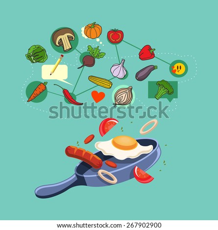 Vector food flat illustration - stock vector