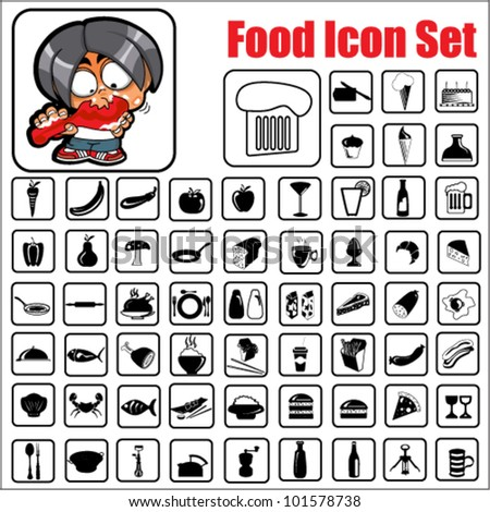 Vector Food Icon Set - stock vector