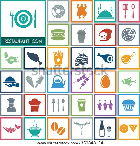 Vector Food Icon Set. - stock vector