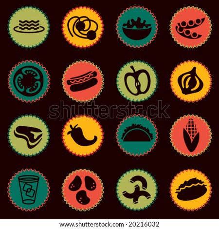 vector food icons set 6 - stock vector
