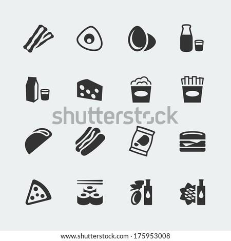 Vector food mini icons set #2 - stock vector