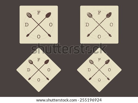Vector food sign �¢?? crossed fork and spoon in vintage colors  - stock vector