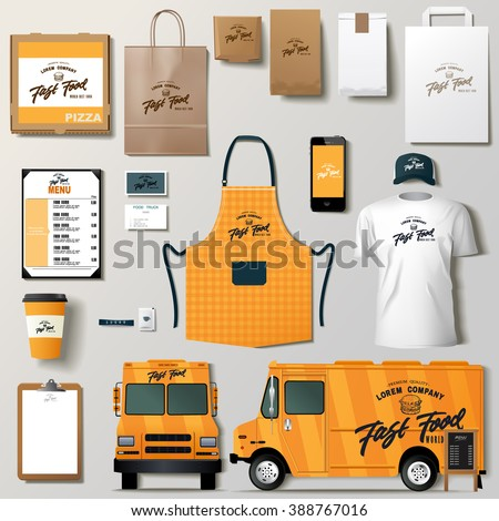 Vector Food Truck Corporate Identity Template Stock Vector - Food truck design template
