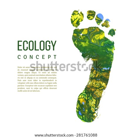 Vector foot imprint. Green slogan card. Ecology concept. Isolated trace on white. Space for text. Painted texture with visible mountains, lakes, rivers, forests, etc. Earth surface. Map imitation. - stock vector