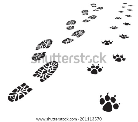 vector foot prints of man and dog  - stock vector
