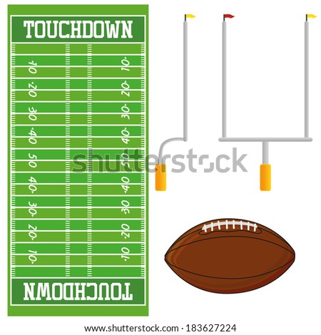 Vector Football Field  Isolated On White Background - stock vector