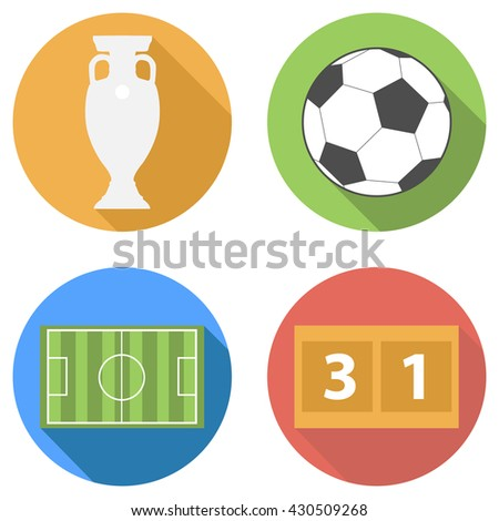 Vector football soccer flat icons set with long shadow - euro cup trophy prize cup, ball, football playing field, scoreboard and score illustration for France Euro 2016 competition. Flat icon set. - stock vector
