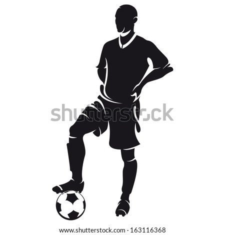 Vector football (soccer) player silhouette with ball isolated - stock vector
