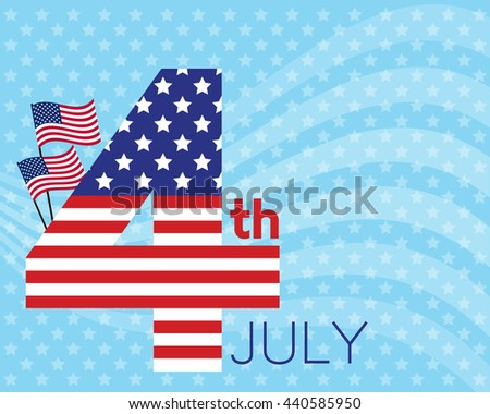vector for celebration on 4th july of america, design from number 4 in america flag style and decoration with flag and white line wave on light blue background and little star