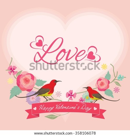 Vector for Lover invitation card.Flower with tow birds and pink ribbon decoration around the border frame.
