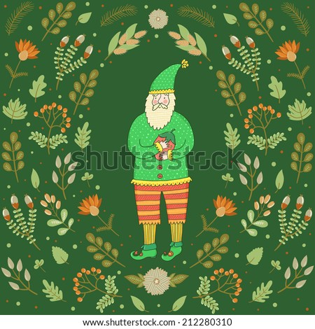 Vector forest card with cute dwarf and different leaves, berries, branches and flowers. Autumn background. - stock vector