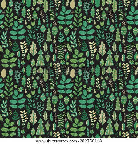 Vector forest design, floral seamless pattern, leaf background. Plants ornament