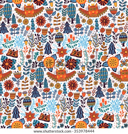 Vector forest design, floral seamless pattern with forest, flowers, owl, trees. Vector background with butterflies, bugs, trees and flowers in childish style - stock vector