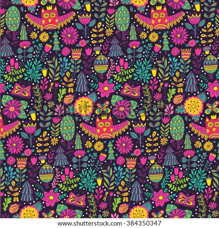 Vector forest design, floral seamless pattern with forest, flowers, owl, trees. Vector background with butterflies, bugs, trees and flowers in childish style