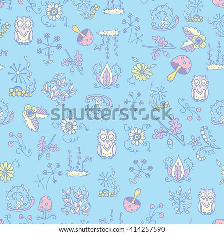 Vector forest design. Seamless pattern with flower, owl, mushroom, grass, leaves elements. Textile, paper background in sketch doodle style
