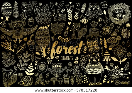 Vector forest elements in doodle childish style, handdrawn animals and insects, trees and plants. - stock vector