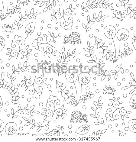Vector forest vector seamless pattern. Doodle background with flowers, leafs, bugs. Cute print background. Cartoon forest background
