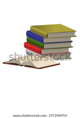 Vector format of pile of colored books and opened one - stock vector