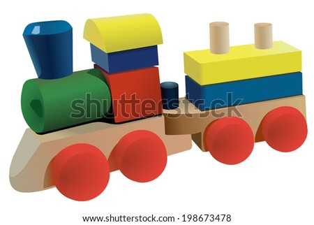 Vector format of wooden locomotive toy with wagon - stock vector