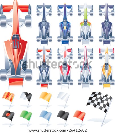 Vector formula cars and flags - stock vector