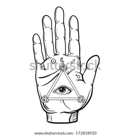 seeing eye dog coloring pages | Hand Drawn Protection Hamsa Hand Adult Stock Vector ...