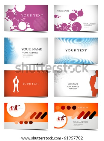 vector four business card set , elements for design. - stock vector