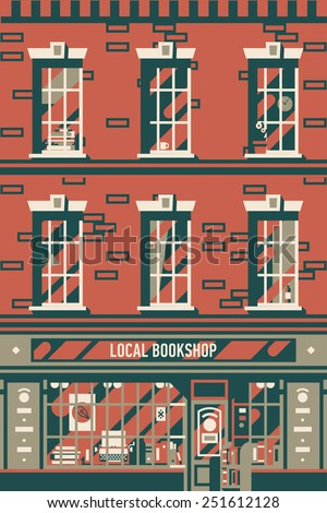 Vector four colored vintage printable poster design background on downtown brick building structure facade with detailed windows and retro antiquarian book shop storefront on street level - stock vector