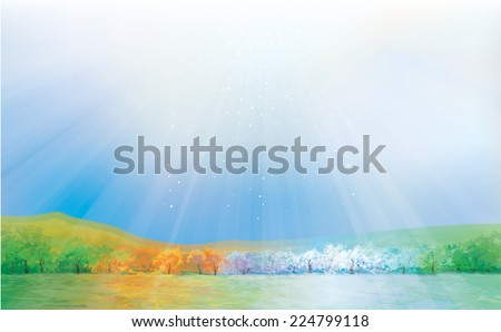Vector four season landscape. - stock vector