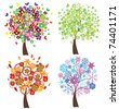 vector four season trees - stock vector
