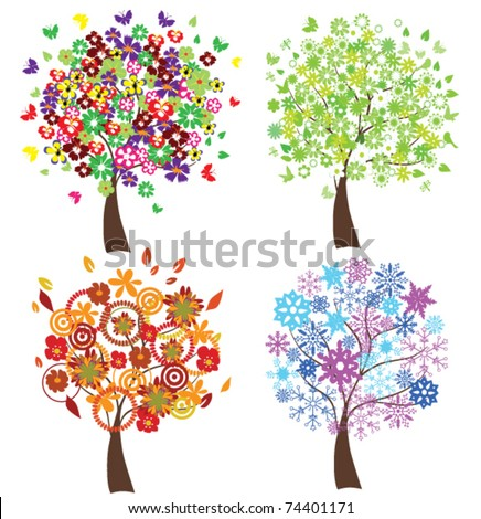 vector four season trees