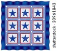 vector - Fourth of July Americana Quilt: Old fashioned patriotic patchwork design in red, white & blue checks, polka dots & stars, blue satin border. EPS8 organized in groups for easy editing. - stock vector