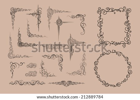 Vector frame and corners. Calligraphic design  - stock vector