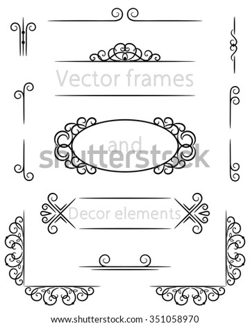 vector frame and decor elements for text - stock vector