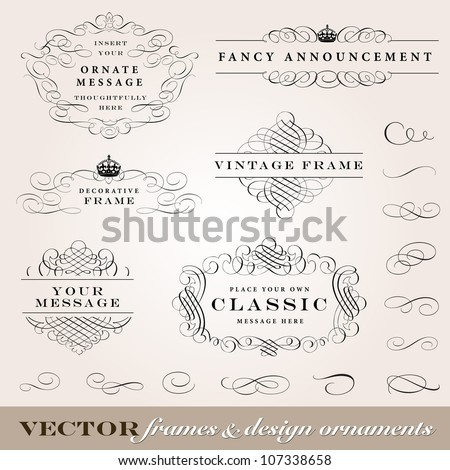 Vector Frame and Design Ornament Set. Easy to edit. All pieces are separated. Perfect for invitations or announcements. - stock vector