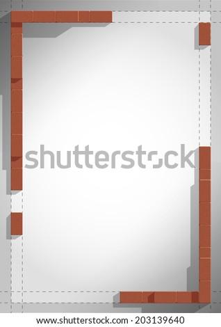 vector frame brick wall  - stock vector