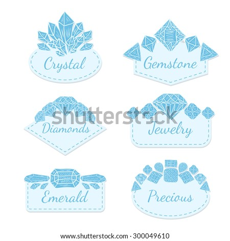 Vector Frame Collection with Gems and Crystals. Set of doodle hand drawn jewelry labels for wedding invitations, save the date and birthday cards, etc. - stock vector