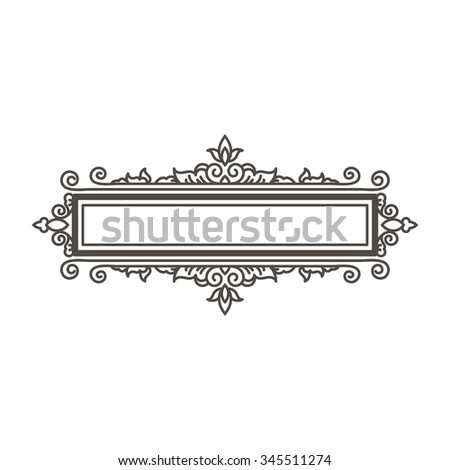 Vector frame design element and page decoration. In the hand drawn style. Premium quality, warranty, Baroque and Classical label - stock vector