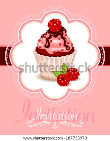 Vector frame design with a berry cupcake for invitation, greeting or announcement  - stock vector