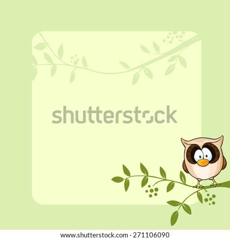 vector frame design with cute owl - stock vector